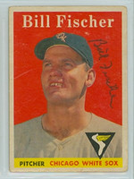 Bill Fischer AUTOGRAPH 1958 Topps #56 White Sox  CARD IS G/VG, CREASE