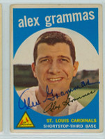 Alex Grammas AUTOGRAPH 1959 Topps #6 Cardinals  CARD IS G/VG; CHIPPING