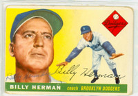 Billy Herman AUTOGRAPH d.92 1955 Topps #19 Dodgers  CARD IS F/P: PAPER LOSS ON FRNT