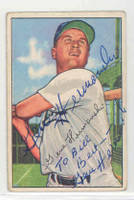 Gene Hermanski AUTOGRAPH d.10 1952 Bowman #136 Cubs PERS; CARD IS G/VG CRN CREASE