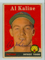 Al Kaline AUTOGRAPH 1958 Topps #70 Tigers  CARD IS F/G; CREASES