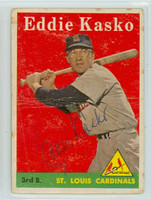 Eddie Kasko AUTOGRAPH 1958 Topps #8 Cardinals  CARD IS POOR