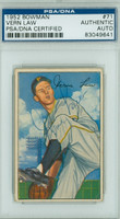Vern Law AUTOGRAPH 1952 Bowman #71 Pirates PSA/DNA PAPER LOSS ON REV; o/w CARD IS VGEX; AUTO CLEAN