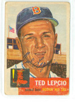 Ted Lepcio AUTOGRAPH 1953 Topps #18 Red Sox 