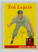 Ted Lepcio AUTOGRAPH 1958 Topps #29 Red Sox  CARD IS VG, NO CREASES
