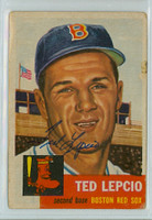 Ted Lepcio AUTOGRAPH 1953 Topps #18 Red Sox MINOR PAPER LOSS