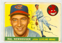 Hal Newhouser AUTOGRAPH d.98 1955 Topps #24 Indians  CARD IS G/VG