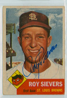 Roy Sievers AUTOGRAPH 1953 Topps #67 Browns Lot CARD IS CLEAN VG