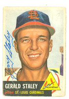Gerald Staley AUTOGRAPH d.08 1953 Topps #56 Cardinals  CARD IS POOR