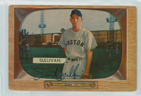 Frank Sullivan AUTOGRAPH 1955 Bowman #15 Red Sox CARD IS F/G; AUTO CLEAN