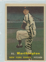 Al Worthington AUTOGRAPH 1957 Topps #39 Giants  