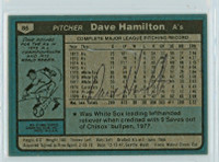 Dave Hamilton AUTOGRAPH 1980 Topps #86 Athletics BACK SIGNED