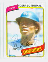 Derrel Thomas AUTOGRAPH 1980 Topps #23 Dodgers 