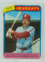 Del Unser AUTOGRAPH AUTO 1980 Topps #6 Phillies Highlight 