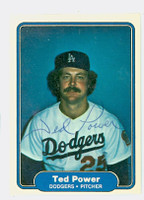 Ted Power AUTOGRAPH 1982 Fleer #17 Dodgers 