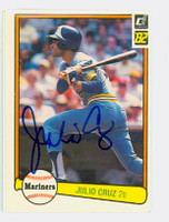 Julio Cruz AUTOGRAPH 1982 Donruss #50 Mariners 
