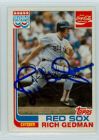 Rich Gedman AUTOGRAPH 1982 Topps #7 Red Sox Coke 