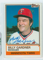 Billy Gardner AUTOGRAPH 1983 Topps #11 Twins 