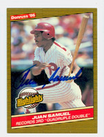 Juan Samuel AUTOGRAPH 1986 Donruss #37 Phillies Highlight 