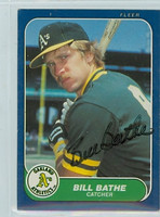 Bill Bathe AUTOGRAPH 1986 Fleer UPDATE U-9 Athletics 
