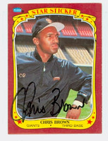 Chris Brown AUTOGRAPH d.06 1986 Fleer Giants Star Sticker 