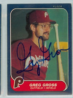 Greg Gross AUTOGRAPH 1986 Fleer Phillies 