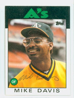 Mike Davis AUTOGRAPH 1986 Topps #165 Athletics 