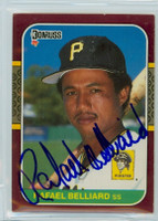 Rafael Belliard AUTOGRAPH 1987 Donruss Pirates Opening Day 