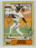 Chris Brown AUTOGRAPH d.06 1987 Topps #180 Giants 