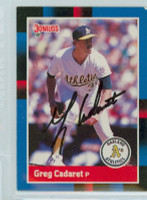 Greg Cadaret AUTOGRAPH 1988 Donruss Athletics 