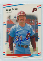 Greg Gross AUTOGRAPH 1988 Fleer Phillies 