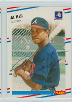 Albert Hall AUTOGRAPH 1988 Fleer Braves 