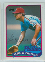 Greg Gross AUTOGRAPH 1989 Topps Phillies 