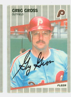 Greg Gross AUTOGRAPH 1989 Fleer Phillies 