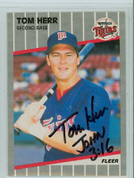 Tom Herr AUTOGRAPH 1989 Fleer Twins 