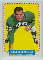 1964 Topps Football 18 Jesse Richardson Single Print Boston Patriots Very Good to Excellent