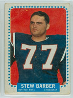 1964 Topps Football 23 Stew Barber ROOKIE Buffalo Bills Poor