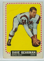 1964 Topps Football 24 Dave Behrman Buffalo Bills Fair to Poor
