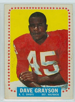 1964 Topps Football 97 Dave Grayson ROOKIE Kansas City Chiefs Fair to Good