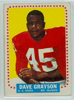 1964 Topps Football 97 Dave Grayson ROOKIE Kansas City Chiefs Good to Very Good