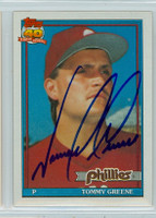 Tommy Greene AUTOGRAPH 1991 Topps Phillies 