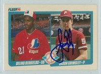Jason Grimsley AUTOGRAPH 1990 Fleer Phillies 
