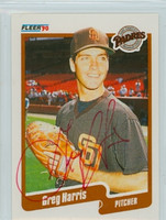 Greg Harris AUTOGRAPH 1990 Fleer Padres 