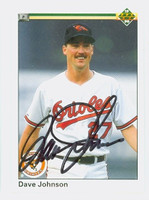 Dave Johnson AUTOGRAPH 1990 Upper Deck Orioles 