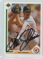 Dave Johnson AUTOGRAPH 1991 Upper Deck Orioles 