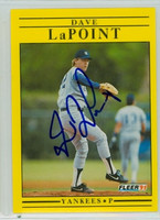 Dave LaPoint AUTOGRAPH 1991 Fleer Yankees 