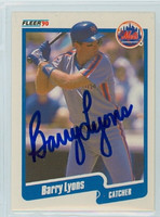 Barry Lyons AUTOGRAPH 1990 Fleer Mets 