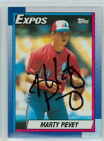 Marty Pevey AUTOGRAPH 1990 Topps Expos 