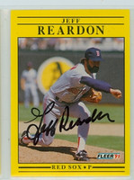 Jeff Reardon AUTOGRAPH 1991 Fleer Red Sox 