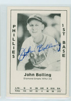 Jack Bolling AUTOGRAPH d.98 1979 TCMA Diamond Greats Phillies 